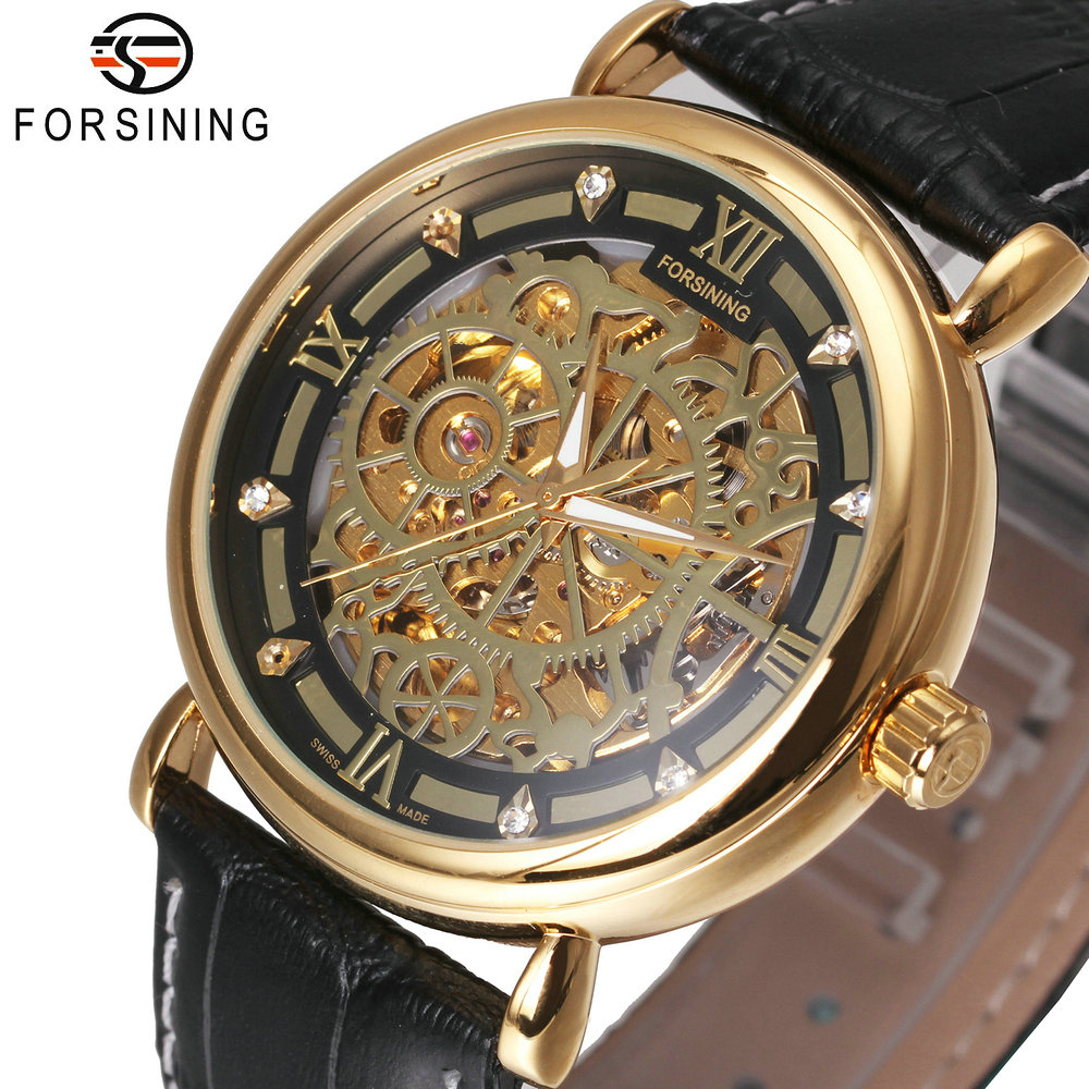 FORSINING Luxury Golden Men Skeleton Auto Mechanical Watch Leather Strap Roman Number Crystal Decoration Royal Style Wristwatch 2017 fashion forsining watches men s brand day roman number flywheel auto mechanical watch wristwatch gift free ship