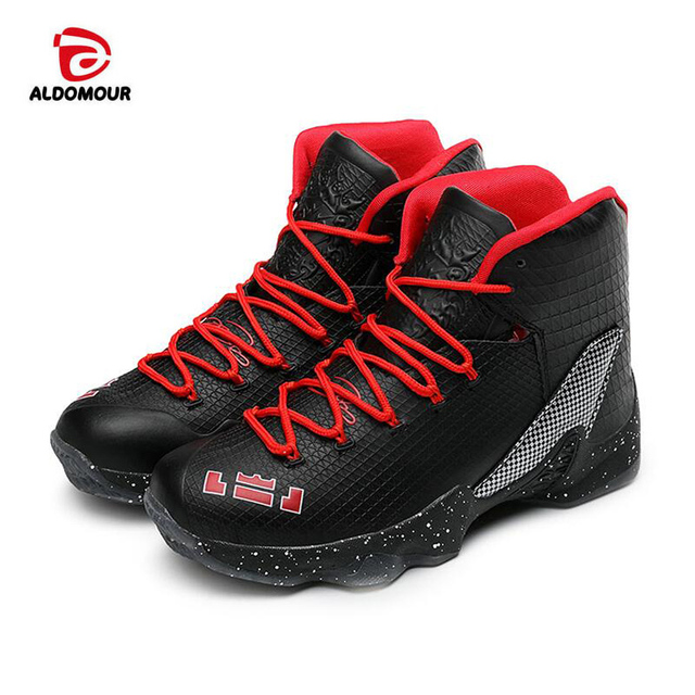 ALDOMOUR Newest Men Basketball Shoes 2017 Male Ankle Boots Anti-slip  outdoor Sport Sneakers Plus 14f8559bb703