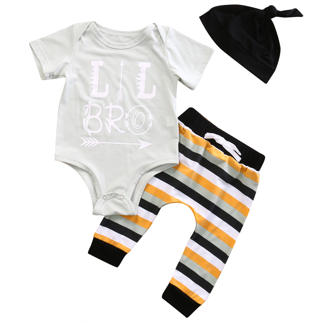 3PCS Casual Newborn Toddler Infant Baby Boys Girls Letter Short Sleeve Bodysuits+Striped Pants+Hat Outfit Set Clothes