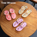 Children Bowtie Sandals 2017 Summer New Kids flip flop Breathable Princess Sandals Baby Girls Elastic Flats Single shoes