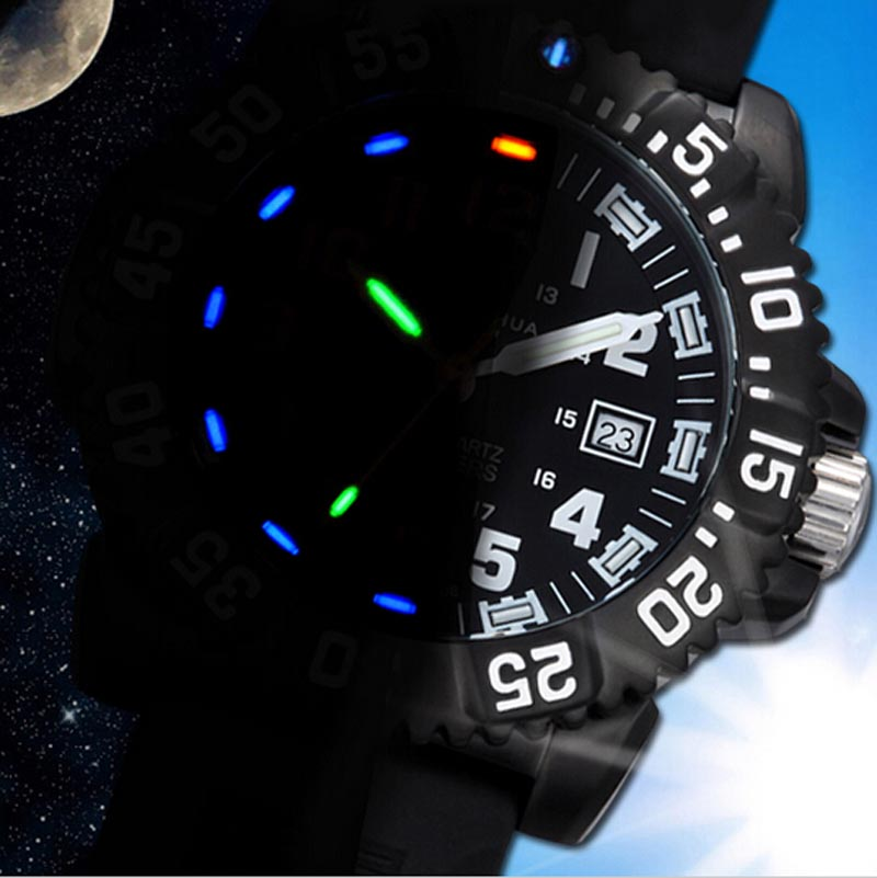 Carnival Men's Tritium luminous Watch Rotatable Bezel Stainless Steel Case Rubber Band Sport Military Quartz Waterproof Watches skone 5051 luminous pointers quartz watch men rotatable bezel wristwatch