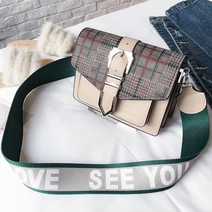 Plaid Bucket Letters Strap Lady Flap Women Shoulder Bag #2230 Fashion Woman Crossbody Bag Female Christmas Gift
