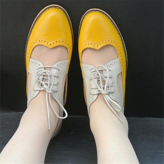 2017 mulheres sandálias de couro genuíno plana oxford handmade us11 10.5 apartamentos oxfords sapatos preto verde amarelo para as mulheres frete grátis