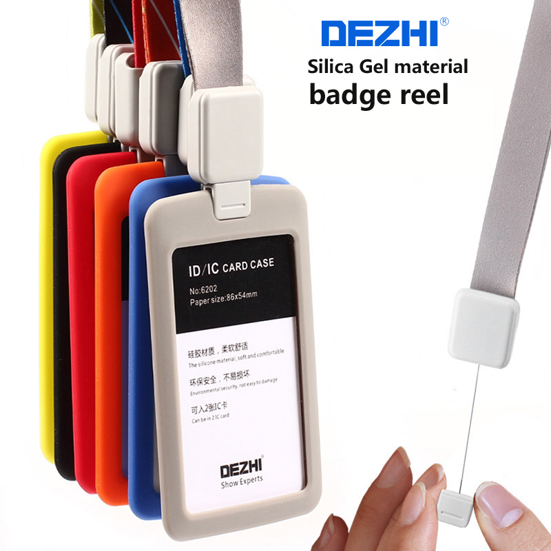 DEZHI-Retractable Lanyard with Silica Gel Material ID Badge Holders Accessories Bank Credit Card Badge Holder
