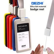 DEZHI geri çekilebilir kordon silika jel malzeme kimlik kartı sahipleri aksesuarları banka kredi kartı rozeti tutucu