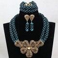 Teal/Черный Костюм Женщины Свадебные Ювелирные Изделия Большой Кулон Себе Ожерелье Серьги Позолоченные Комплект Бесплатная Доставка WD103