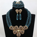 Teal/Black Costume Women Bridal Jewelry Big Pendant Statement Necklace Earrings Set  Gold Plated Set Free Shipping WD103