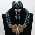Teal/Negro Traje de Las Mujeres de Novia Joyería Grande Declaración Colgante Collar Pendientes Set Chapado En Oro Set Envío Libre WD103