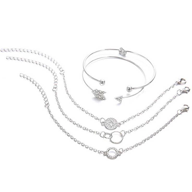 5 cái/bộ Phụ Nữ Cá Tính Khảm Pha Lê La Bàn Mũi Tên Knot Vòng Chain Mở Vòng Đeo Tay Thiết Lập Tinh Tế Sáng Bóng Đồ Trang Sức Bên