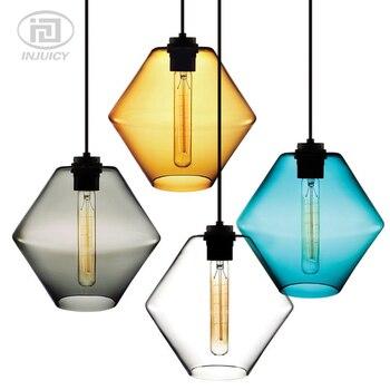 Американский винтажный стеклянный подвесной светильник в виде рыбьей чаши, цветной стеклянный абажур, подвесной светильник для гостиной, р