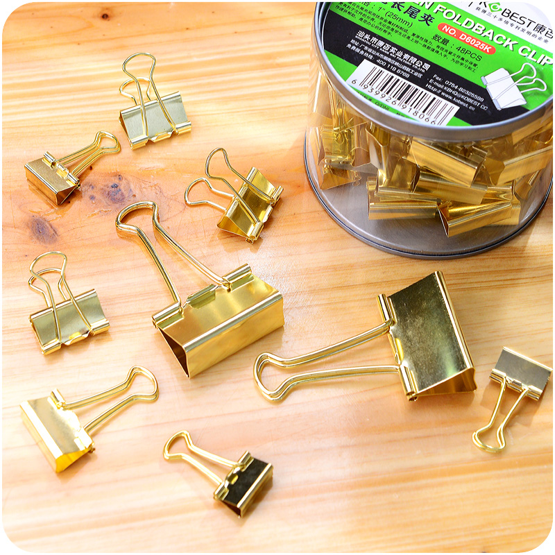 5pcs Solid Color Gold Metal Binder Clips Notes Letter Paper Clip Office Supplies
