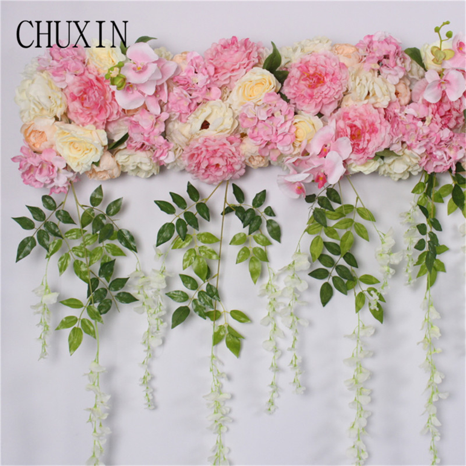 2m Diy Artificial Roses Mixed Flowers Row Wedding Background Wall