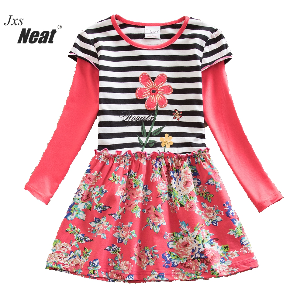 Baby Girl Dress 2017 Round Neck Cotton Girl Clothes Flower Pattern