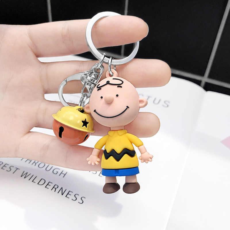 2019 nuevo INS lindo dibujos animados de Charley marrón llavero mujeres o hombres bolso de coche encantos accesorios Anime llavero novio regalo