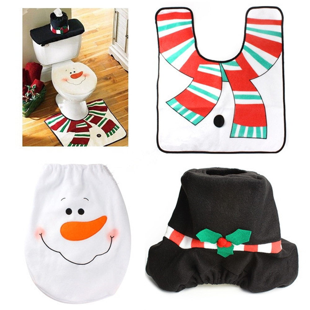 4pcs Set Fancy Snowman Toilet Seat Cover And Rug Bathroom Christmas Decor With A Cute Smiley Face Flannel In Covers From Home