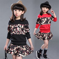 Girls Clothing Set Cotton Casual Children Clothing Brand Fashion Kids Tracksuits Flower Sweater + Skirts 2Pcs Baby Clothes Girls