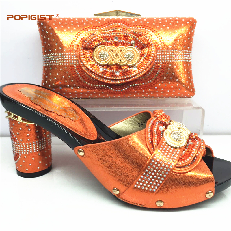 Orange Pumps 2019 African Women Shoes And Bag Set With Rhinestones Pumps Italian Shoes With Matching