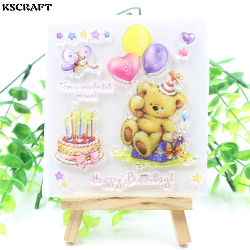KSCRAFT Bear Transparent Clear Silicone Stamps for DIY Scrapbooking/Card Making/Kids Crafts Fun Decoration Supplies