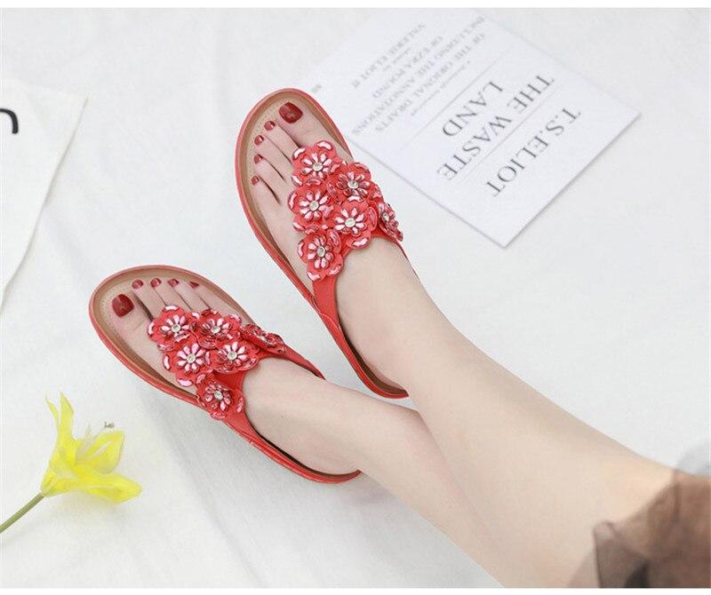 New 2019 ethnic women`s sandals cross-border bohemian rhinestones large size comfortable flat shoes beach shoes (29)