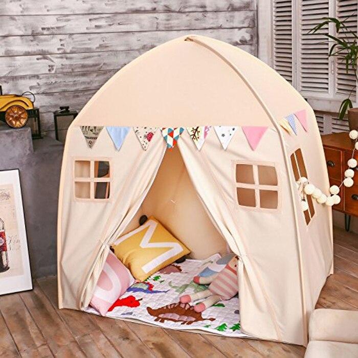 Grande crianças playhouse bege 100% algodão lona jogar tenda casa de brinquedo ao ar livre indoor little princess meninas meninos presente do bebê