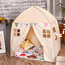 цена на Large Children Playhouse Beige 100% Cotton Canvas Play Tent Play House Indoor Outdoor Toy Little Princess Girls Boys Baby Gift