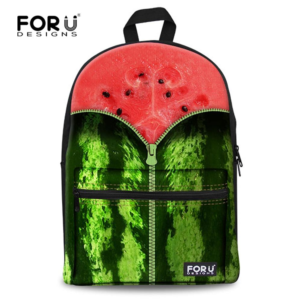 Watermelon Print Ladies Canvas Backpack Fruit Style Rucksack Girls School Backpacks Mochila Feminina