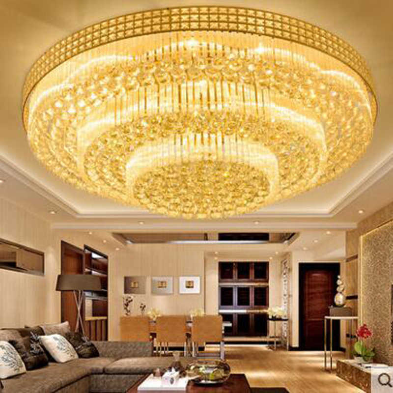 โมเดิร์น Minimalist LED รอบโคมไฟคริสตัลเพดานบรรยากาศโรงแรมห้องนั่งเล่นห้องนอนโคมไฟติดตั้ง