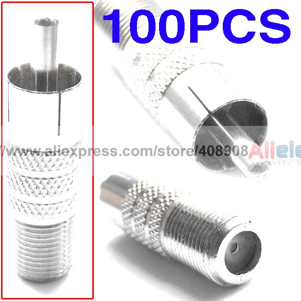 100pcs F Female to RCA Male Coaxial Cable CCTV Adapters стоимость