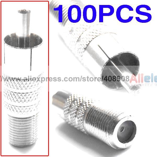 все цены на 100pcs F Female to RCA Male Coaxial Cable CCTV Adapters онлайн