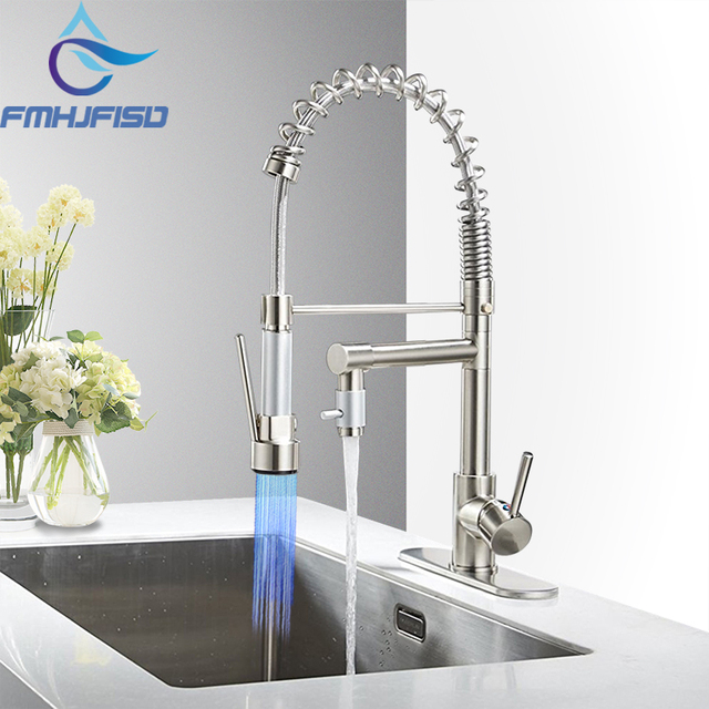 Brushed Nickel Chrome Kitchen Faucet Double Sprayer Vessel Sink Mixer Tap Deck Mounted Single Hole