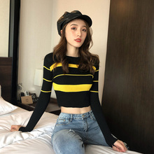 ced2e7cdf98 Color Block Striped Knitted T Shirt Women Crop Top Sexy Petite Long Sleeve  Tee Shirt Femme
