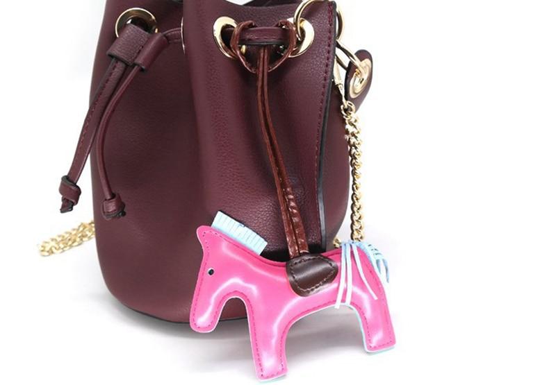 DHLFREE PU Leather Horse Keychain Animal Key Chain for Women Bag Backpack Handbag Tassel Keychain Charm