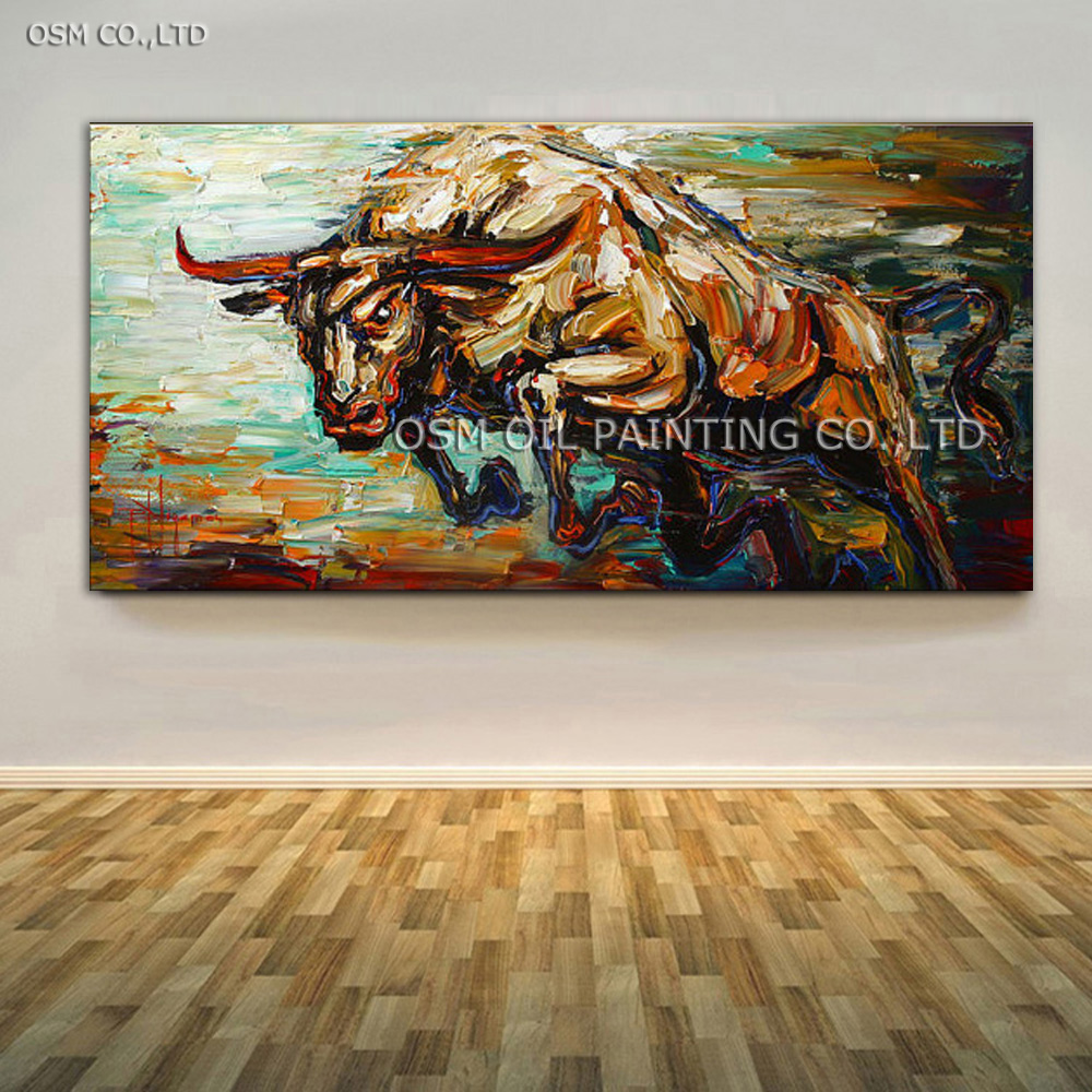 Top Artist Handmade High Quality Abstract Knife Lukisan Bull Oil Painting For Wall Decoration Jumping Bull Picture On Canvas
