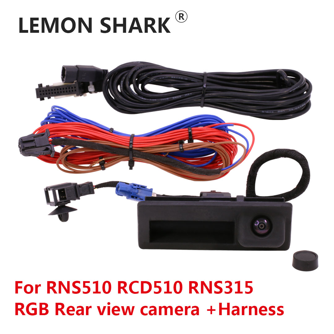 RGB Rear View Reversing Camera RVC Trunk Handle For VW Jetta Golf Plus Tiguan Passat B6 B7 RNS510 RCD510 RNS315 18D827566A