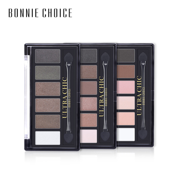 BONNIE CHOICE 6 Colors Matte Eye shadow Pallete With Brush Makeup Glitter Waterproof Cosmetic Long Lasting Shimmer Smokey