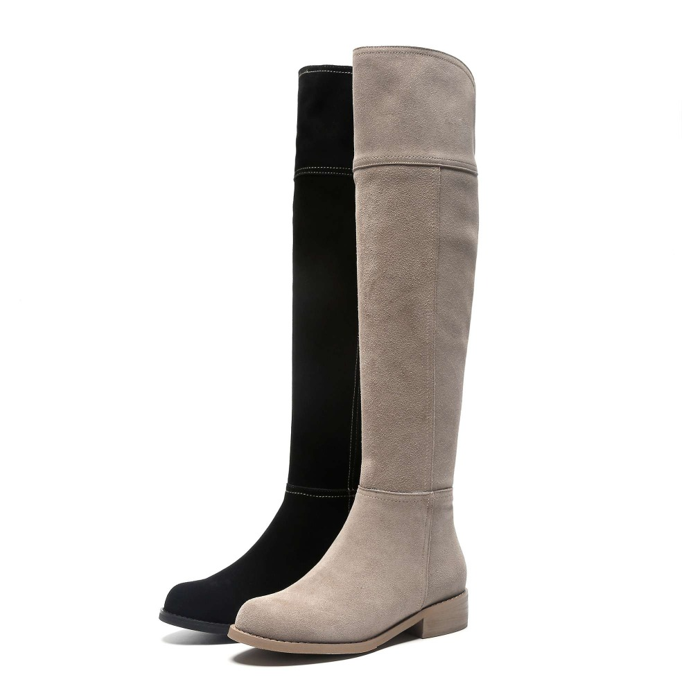 Image 5 - High street fashion solid zip genuine leather thigh high boots round toe low heels rome elegant female over the knee boots L51-in Over-the-Knee Boots from Shoes