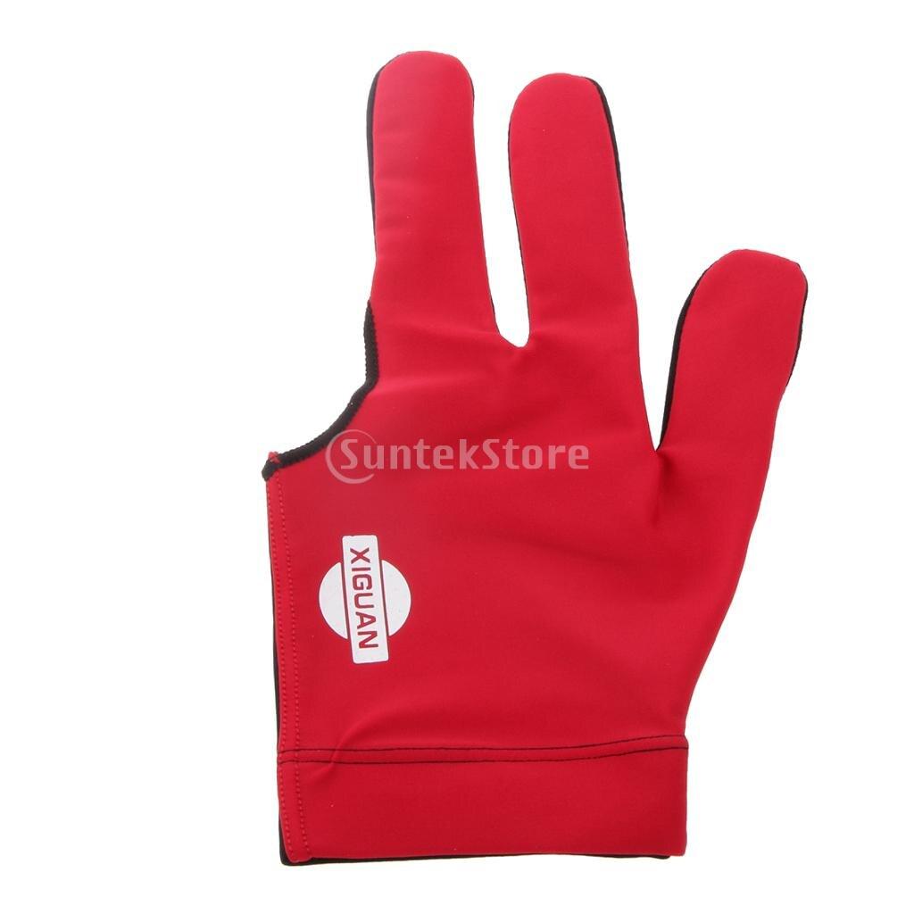 Snooker Billiards Elastic Left Hand 3 Fingers Glove For Pool Cue Red&Black ...