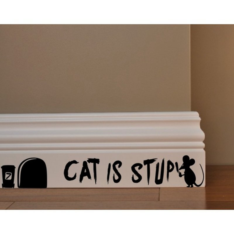 Aliexpress Com Buy Cat Is Stupid Mouse Funny Cartoon Wall Decal