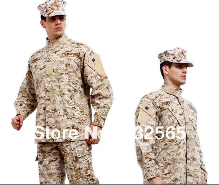 Camouflage Desert Military Uniform Suit Camo Combat Hunting Suit Uniforms, Tactical BDU Uniforms, Long Sleeves Coat+Long Pants 1 6 scale camouflage suit fg015 desert