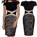 Newest Solid Women's Lace Pencil Dress Sexy Summer Short Sleeve O-Neck Patchwork Knee-Length Dress Ladies Basic Party Dress W183