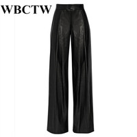 WBCTW Loose Trousers XXS 7XL Plus Size PU Leather Women Casual Pants Solid Spring Black Full Length Pantalon High Waist Pants