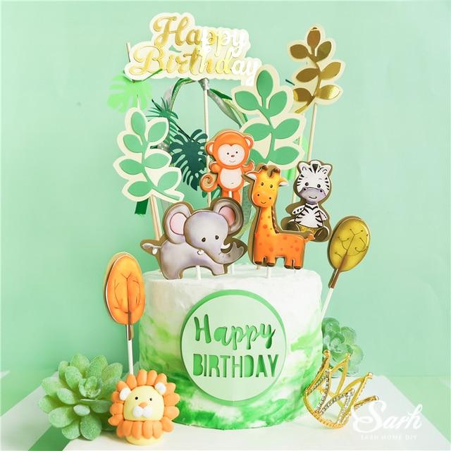 Топпер для торта с изображением жирафа обезьяны животных, золотые буквы на день рождения, украшения для детского дня рождения, для вечевечерние НКИ мальчика и девочки, милые подарки для выпечки