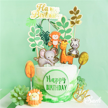 Giraffe Monkey Animals Cake Toppers Happy Birthday Gold Letter Decorations for Childrens Day Boy Girl Party Baking Sweet Gifts
