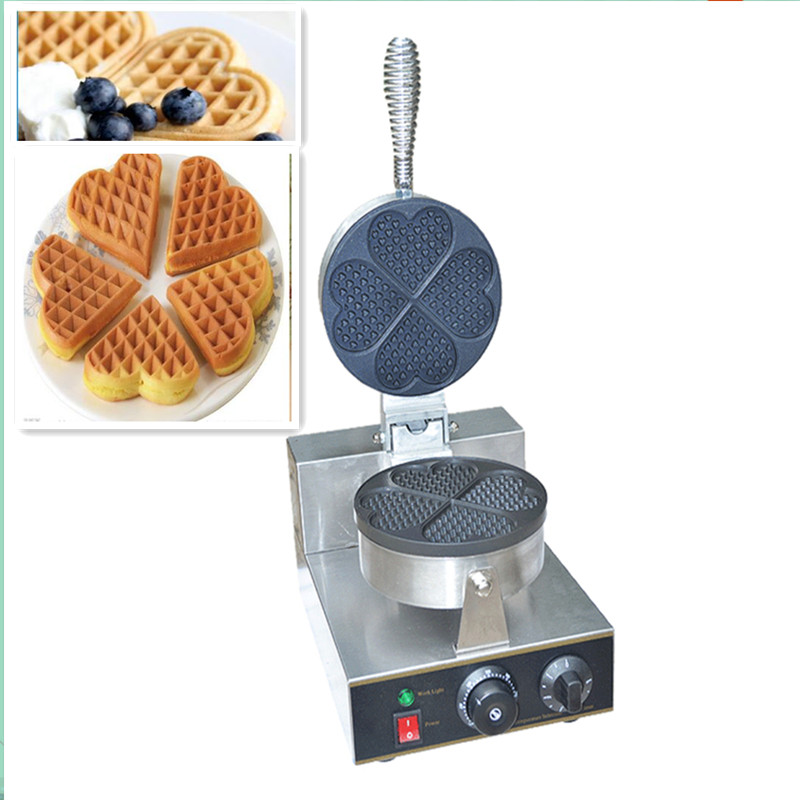 110V 220V Non-Stick Commercial Waffle Maker 4pcs Heart Shaped Waffle Crep Bread Machine With Timer And Temperature Control