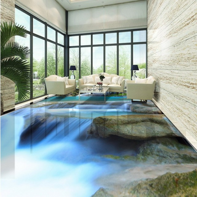 Free Shipping 3D Stereo Natural Landscape Waterfall River Stone Floor  Painting Thickened Non Slip Bedroom