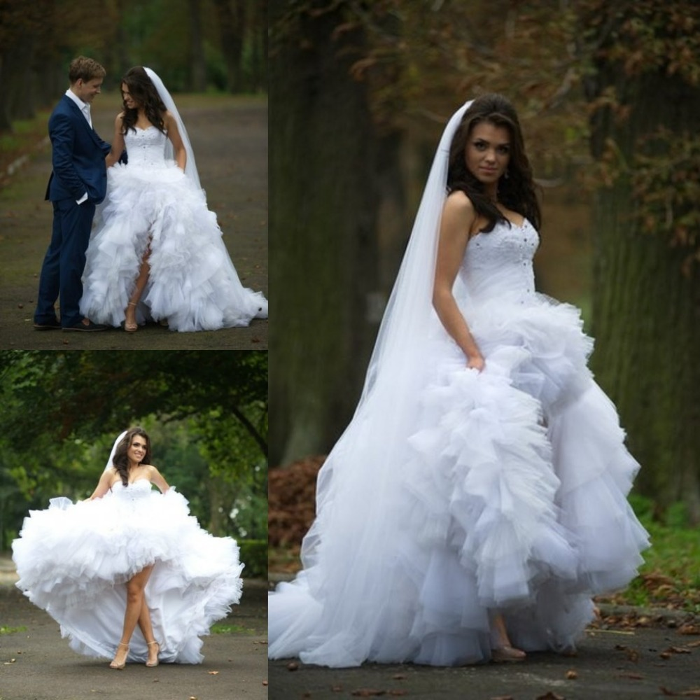 product&product id high low wedding dress Simple Sweetheart Court Train High Low Short Wedding Dresses