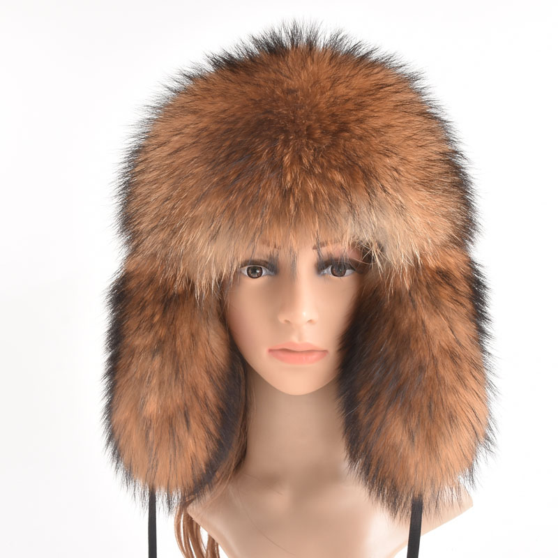 Winter Genuine Fox Fur Hats For Women Winter Luxury Real Raccoon Fur Hat New Luxury Trapper Caps Russian Style Bombers Hat