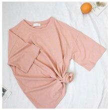 dd0c0646d18f6 J pinno nueva camiseta sólido Rosa colores o-Cuello camisa corta de algodón  cómodo para las mujeres verano Casual camiseta