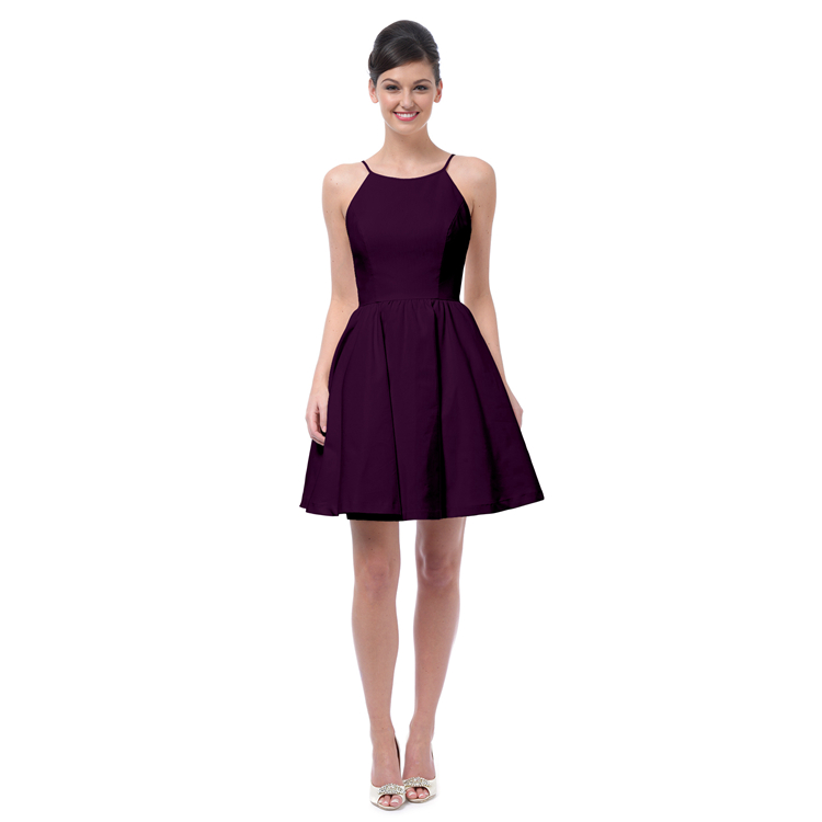 Grape Purple Satin Bridesmaid Dresses Knee Length -3036