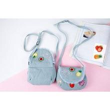 2017 New Cherry Strawberry Pineapple Bag For Baby Girl Kids Mini Cotton Denim Jeans B